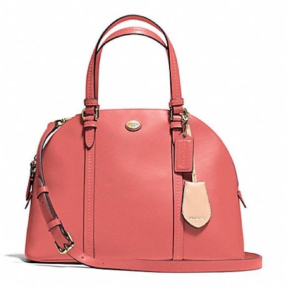 Coach Handbags - •Coach• Peyton satchel handbag coral crossbody